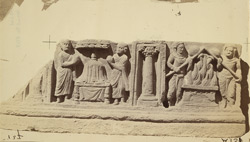 Frieze from the upper monastery at Nutta, Peshawar: Buddha's pyre and worship of his ashes